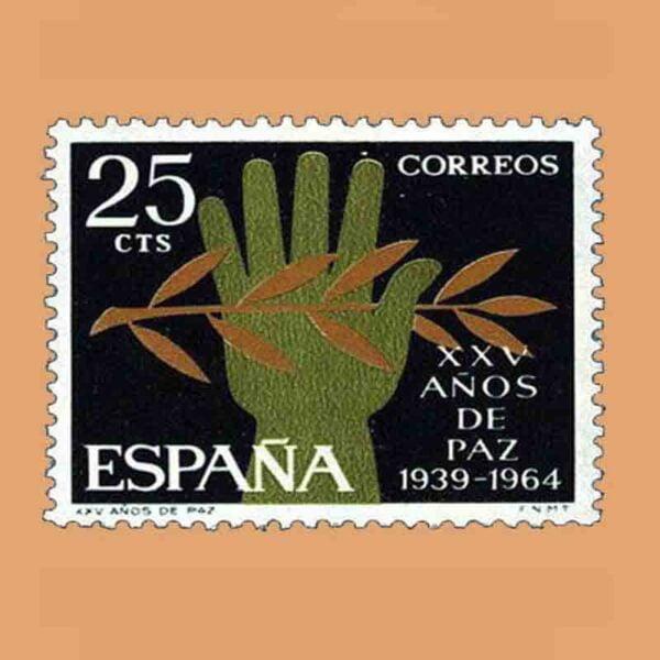 Edifil 1576. XXV Años de Paz Española. Alegoría. Sello 25 Cts. ** 1964