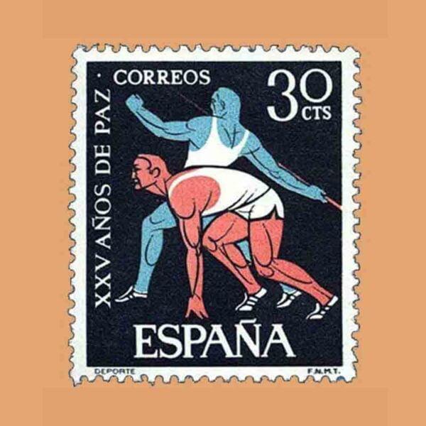 01577. XXV Años de Paz Española. Deportes. Sello 30 Cts. ** 1964