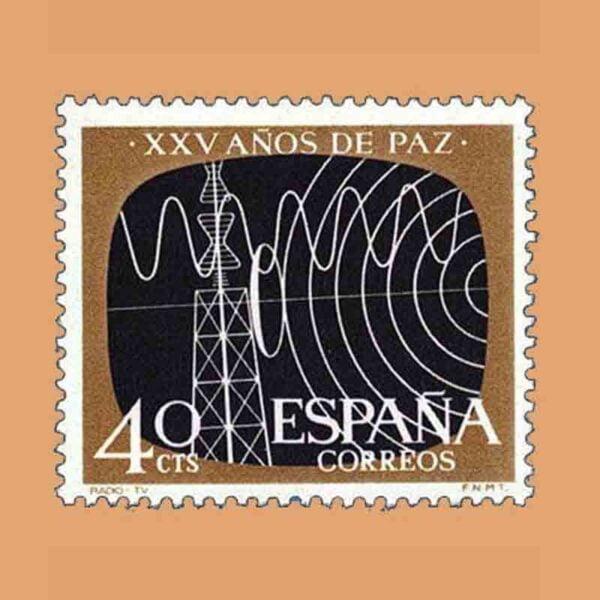 Edifil 1578. XXV Años de Paz Española. Telecomunicaciones. Sello 40 Cts. ** 1964