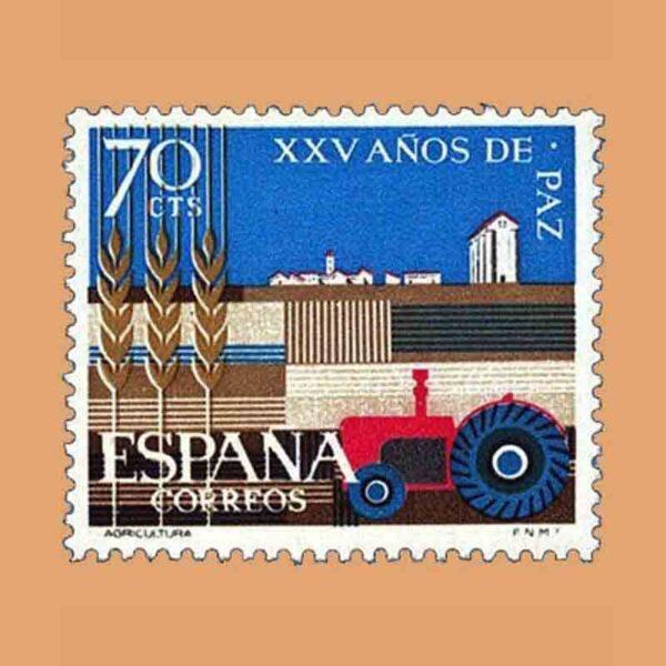 Edifil 1580. XXV Años de Paz Española. Agricultura. Sello 70 Cts. ** 1964