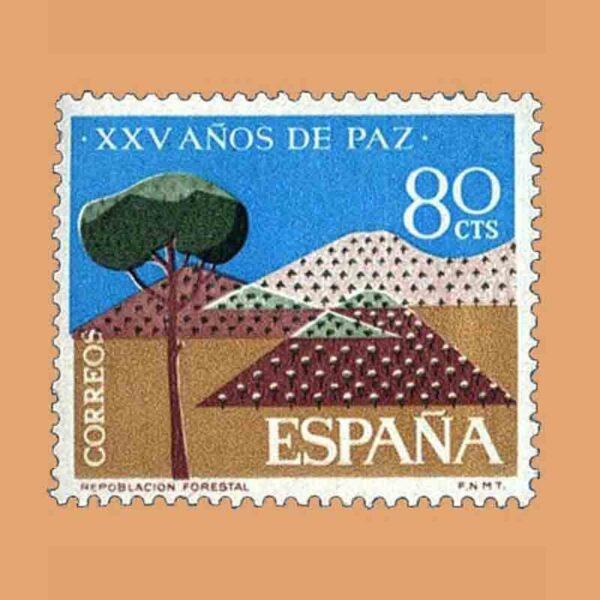 Edifil 1581. XXV Años de Paz Española. Repoblación forestal. Sello 80 Cts. ** 1964