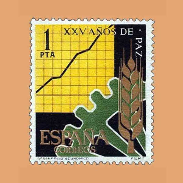 Edifil 1582. XXV Años de Paz Española. Desarrollo económico. Sello 1 pta. ** 1964
