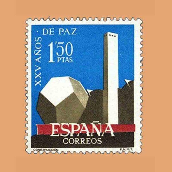 Edifil 1583. XXV Años de Paz Española. Construcción. Sello 1'50 ptas. ** 1964