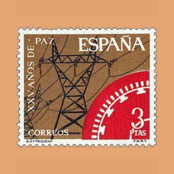 Edifil 1586. XXV Años de Paz Española. Electricidad. Sello 3 ptas. ** 1964