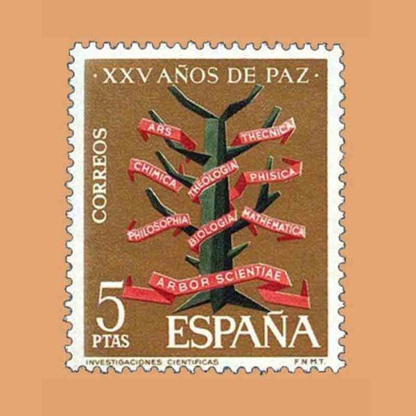 Edifil 1587. XXV Años de Paz Española. Investigaciones científicas. Sello 5 ptas. ** 1964