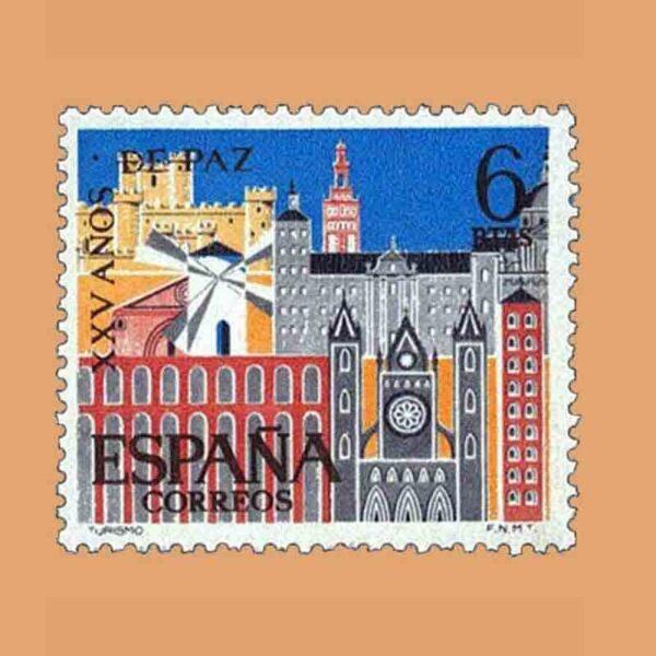 Edifil 1588. XXV Años de Paz Española. Turismo. Sello 6 ptas. ** 1964