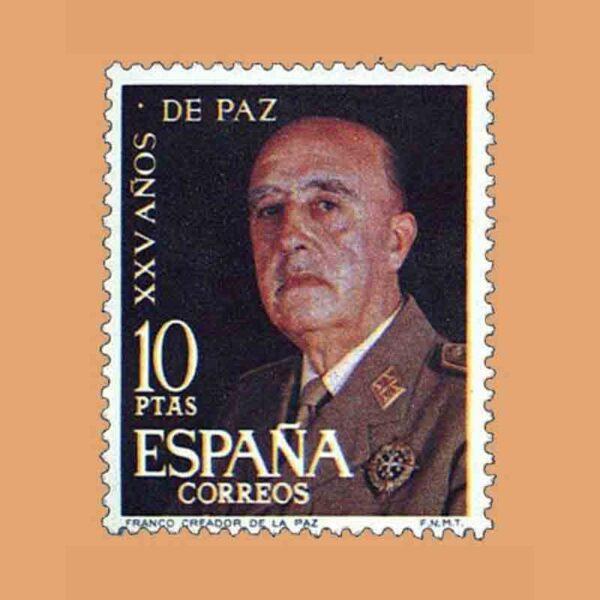 Edifil 1589. XXV Años de Paz Española. General Franco. Sello 10 ptas. ** 1964