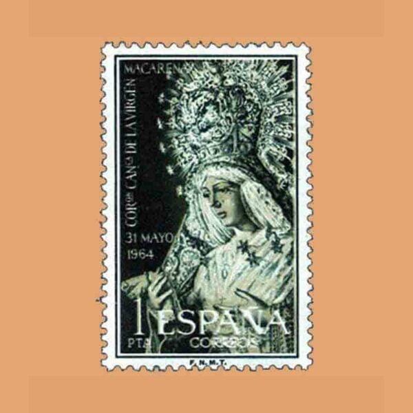 Edifil 1598. Coronación de la Virgen de la Macarena. Sello 1 pta. ** 1964