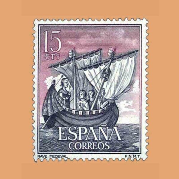 Edifil 1599. Homenaje a la Marina. Nave Medieval. Sello 15 cts. ** 1964