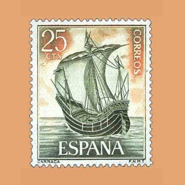 Edifil 1600. Homenaje a la Marina Española. Carraca. Sello 25 cts. ** 1964
