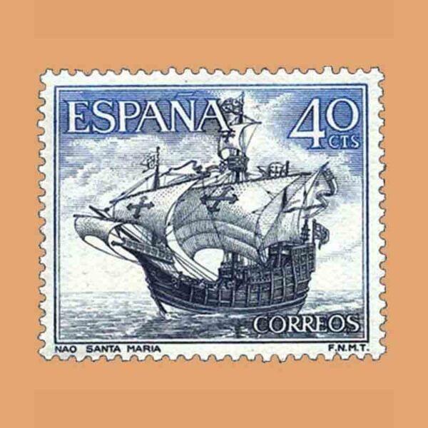 Edifil 1601. Homenaje a la Marina Española. Nao. Sello 40 cts. ** 1964