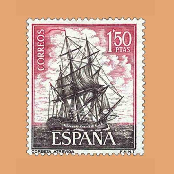 Edifil 1606. Homenaje a la Marina Española. Corbeta. Sello 1,50 ptas. ** 1964
