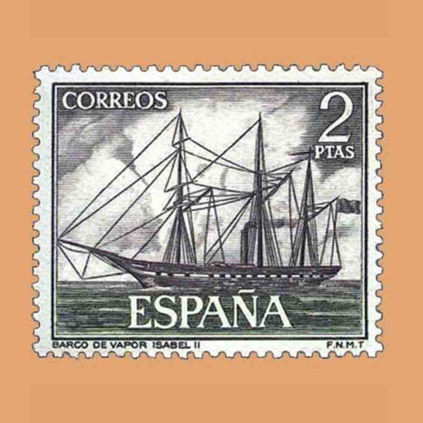 "Edifil 1607. Homenaje a la Marina Española. Vapor ""Isabel II"". Sello 2 ptas. ** 1964"