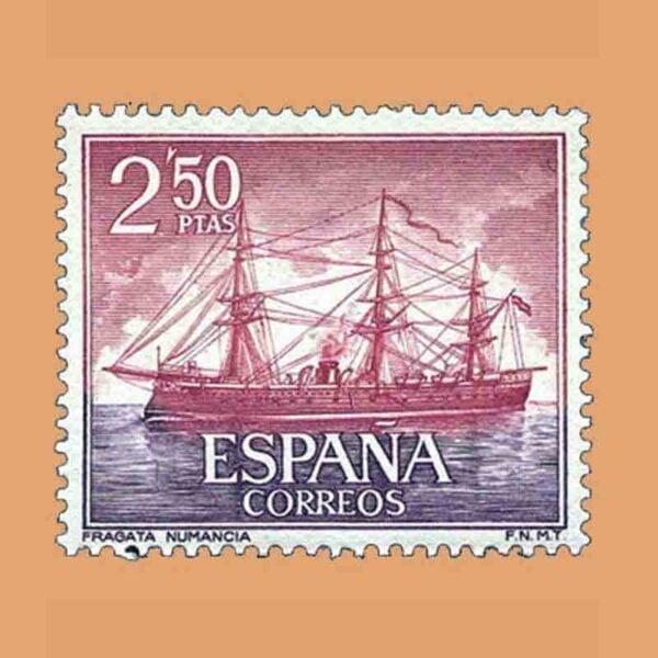 "Edifil 1608. Homenaje a la Marina Española. Fragata ""Numancia"". Sello 2,50 ptas. ** 1964"