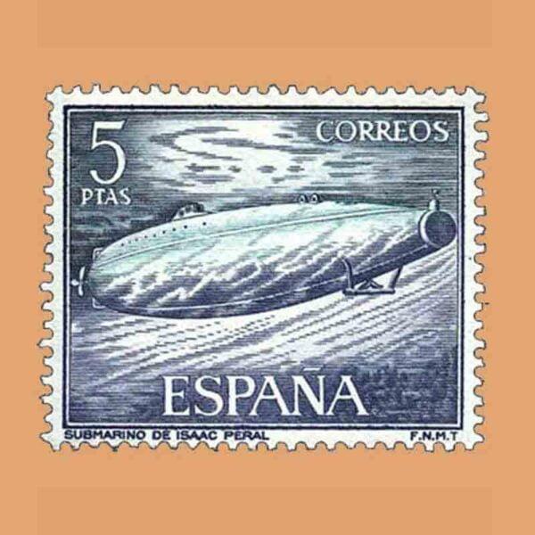 Edifil 1610. Homenaje a la Marina Española. Submarino de Isaac Peral. Sello 5 ptas. ** 1964