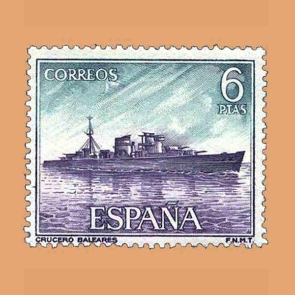 "Edifil 1611. Homenaje a la Marina Española. Crucero ""Baleares"". Sello 6 ptas. ** 1964"