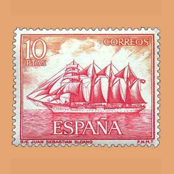 Edifil 1612. Homenaje a la Marina Española. Juan Sebastián Elcano. Sello 10 ptas. ** 1964