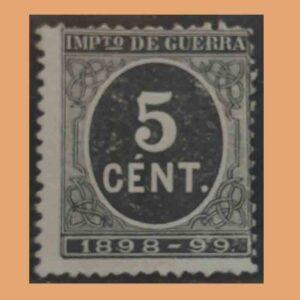 Edifil 236. Cifra y Leyenda 1898-99. Impuesto de guerra. 5 céntimos