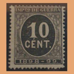 Edifil 237. Cifra y Leyenda 1898-99. Impuesto de guerra. 10 céntimos