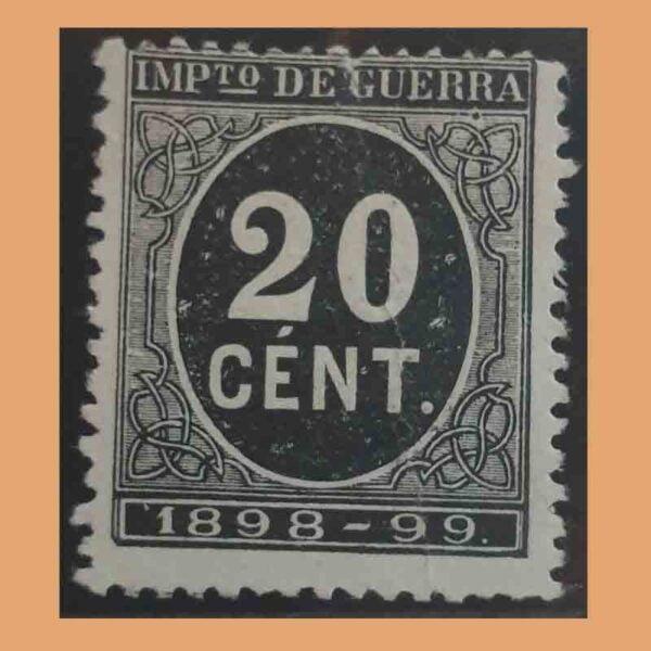 00239. Cifra y Leyenda 1898-99. Impuesto de guerra. 20 céntimos