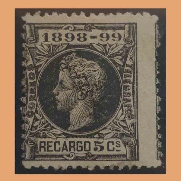 Edifil 240. Alfonso XIII. Impuesto de guerra. 5 céntimos