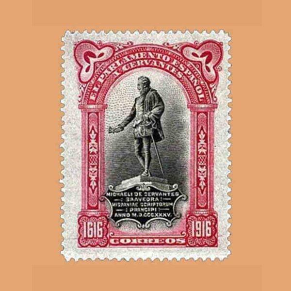 00283. III Centenario de la muerte de Cervantes. FR13, Carmín. 1916