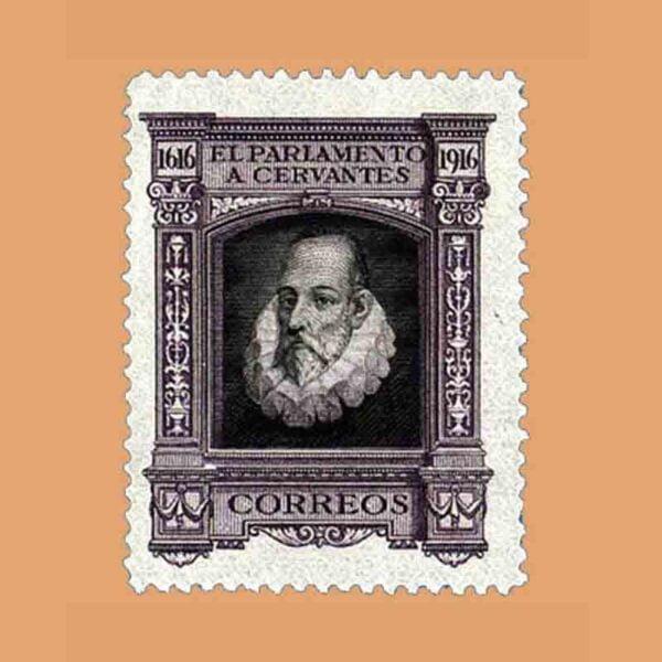 00284. III Centenario de la muerte de Cervantes. FR14, Violeta. 1916