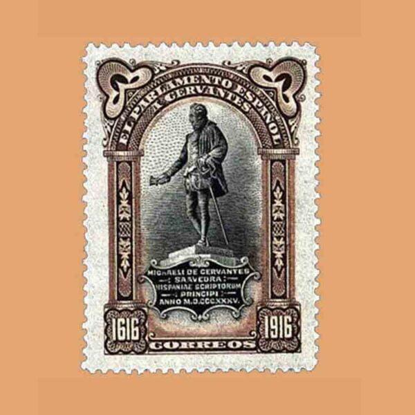 00287. III Centenario de la muerte de Cervantes. FR17, Castaño. 1916