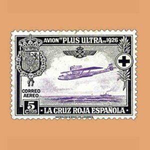 00339. Pro Cruz Roja española. Avión Plus Ultra. 5 céntimos. 1926