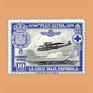 00340. Pro Cruz Roja española. Avión Plus Ultra. 10 céntimos. 1926