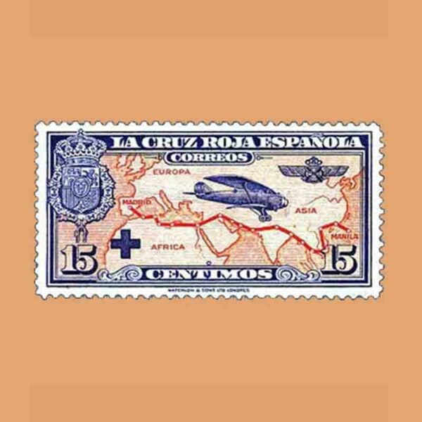 00341. Pro Cruz Roja española. Avión Breguet. 15 céntimos. 1926