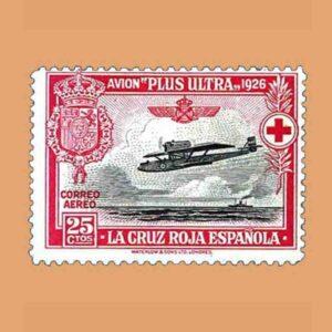 00343. Pro Cruz Roja española. Avión Plus Ultra. 25 céntimos. 1926