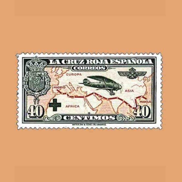 00345. Pro Cruz Roja española. Avión Breguet-19. 40 céntimos. 1926