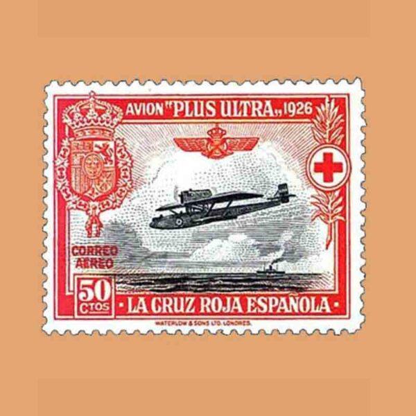 00346. Pro Cruz Roja española. Avión Plus Ultra. 50 céntimos. 1926