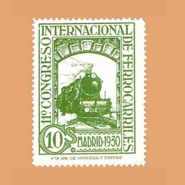 Edifil 472. XI Congreso Internacional de Ferrocarriles Sello 10 cts. 1930