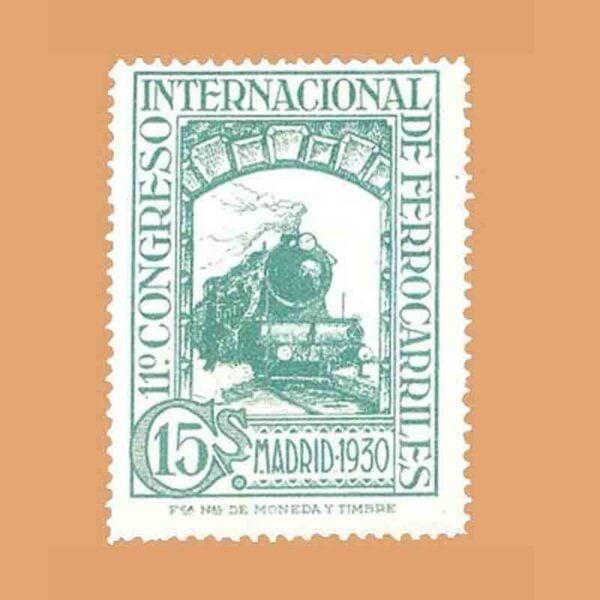 Edifil 473. XI Congreso Internacional de Ferrocarriles Sello 15 cts. 1930
