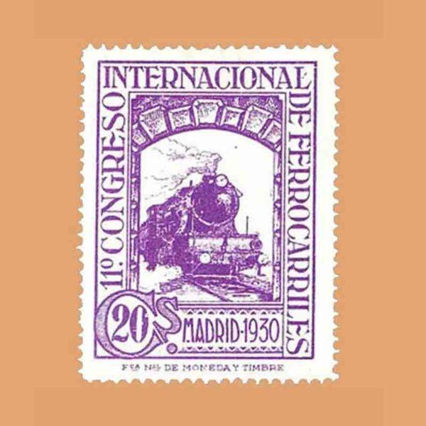 Edifil 474. XI Congreso Internacional de Ferrocarriles Sello 20 cts. 1930