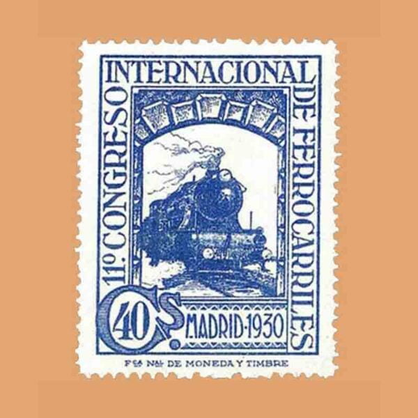 Edifil 477. XI Congreso Internacional de Ferrocarriles Sello 40 cts. 1930