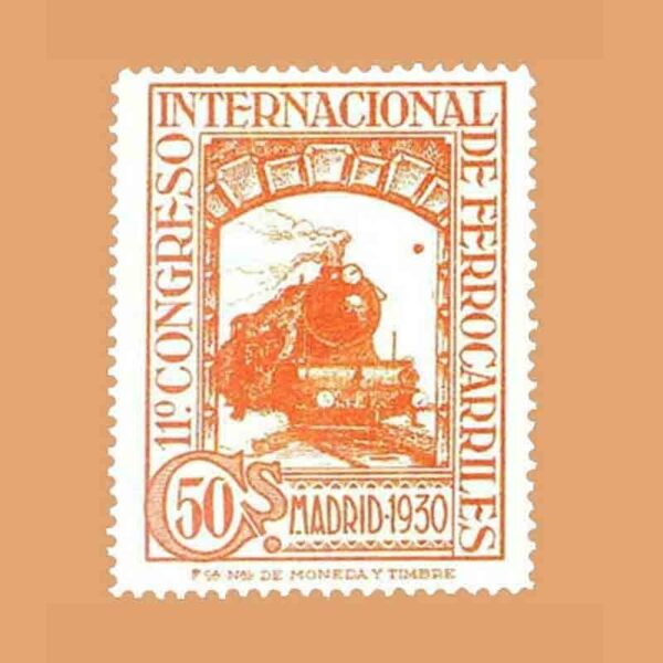 Edifil 478. XI Congreso Internacional de Ferrocarriles Sello 50 cts. 1930