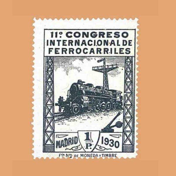 Edifil 479. XI Congreso Internacional de Ferrocarriles Sello 1 pta. 1930