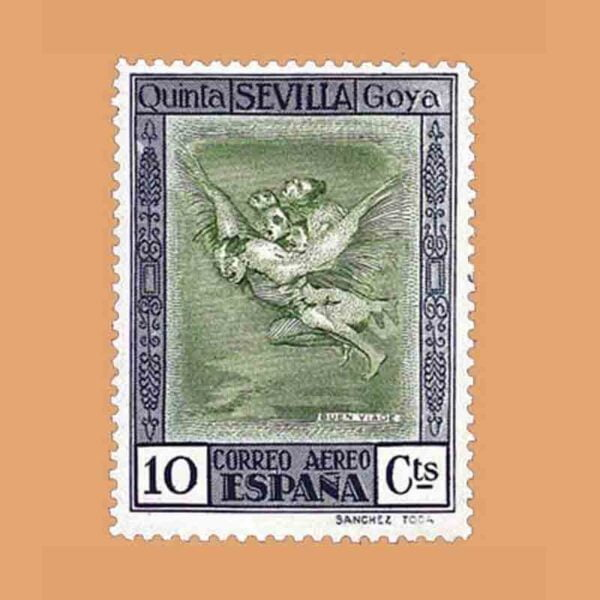 """Edifil 519. Quinta de Goya en la Exposición de Sevilla. """"Buen viaje"""". Sello 10 cts. 1930"""