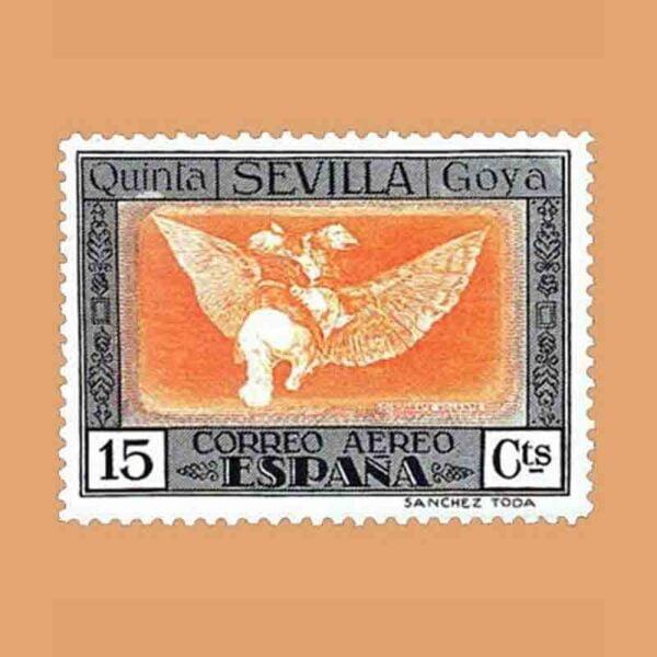 """Edifil 520. Quinta de Goya en la Exposición de Sevilla. """"Buen viaje"""". Sello 15 cts. 1930"""