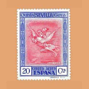 """Edifil 521. Quinta de Goya en la Exposición de Sevilla. """"Buen viaje"""". Sello 20 cts. 1930"""