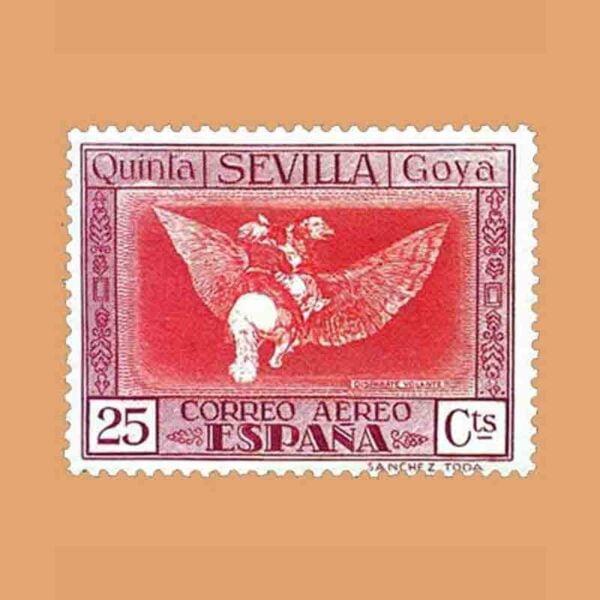 """Edifil 522. Quinta de Goya en la Exposición de Sevilla. """"Disparate Volante"""". Sello 25 cts. 1930"""