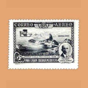 Edifil 583. Pro Unión Iberoamericana. Santos Dumont. Sello 5 cts. 1930