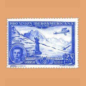 Edifil 585. Pro Unión Iberoamericana. Dagoberto Godoy. Sello 25 cts. 1930