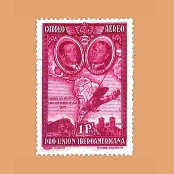 Edifil 589. Pro Unión Iberoamericana. Jiménez e Iglesias. Sello 1 pta. 1930