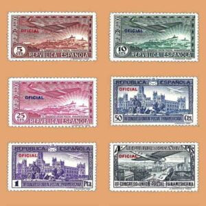 Edifil 630-635. Serie III Congreso de la Unión Postal Panamericana. Oficial. 1931