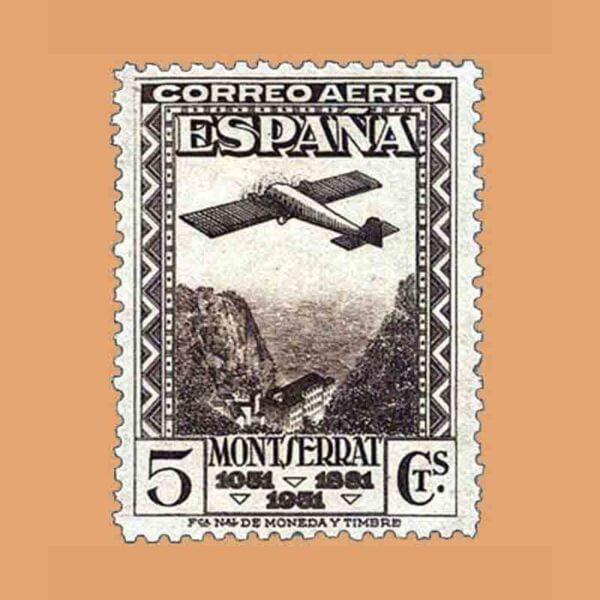 Edifil 650. IX Centenario de la Fundación del Monasterio de Montserrat. Sello 5 cts. 1931