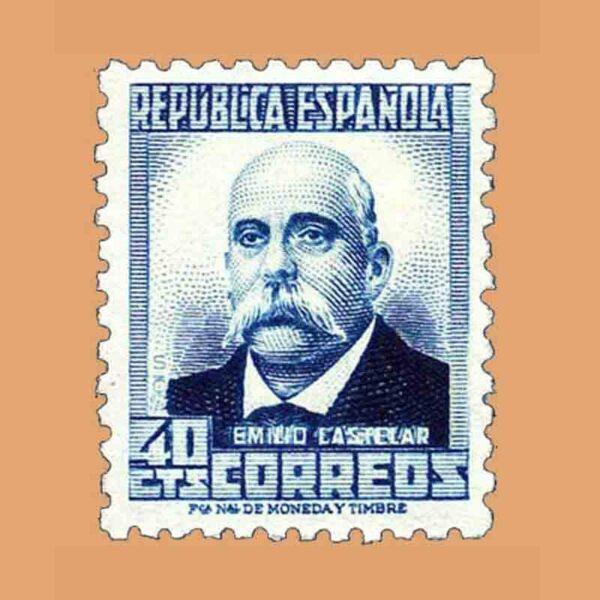 Edifil 670. Personajes y Monumentos. Emilio Castelar. Sello de 40 cts. 1932